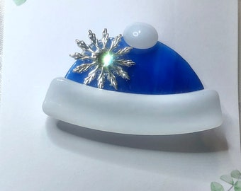 Winter Hat Fused Glass Pin Brooch Blue