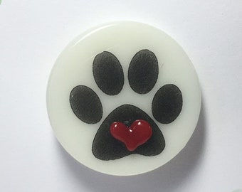 Fused Fire Polished Glass Cat Paw Pin with Glass Heart