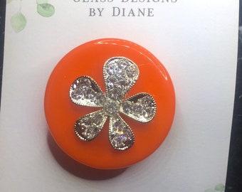 Orange Glass Pin Brooch with Rhinestones