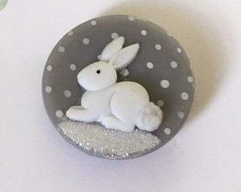 Fused Glass White Bunny in Snow Pin Brooch