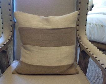 Color Blocking Off-White/Burlap Pillow Cover/Cottage Chic Pillow/Decorative pillow/Model Home pillow