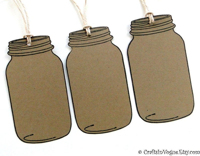 Blank Mason Jar Tags Kraft Tags Favor Tags Gift Tags Wish Tags 10 Large Rustic Tags with Hemp Cord Rustic Wedding Place Cards