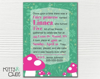 Princess Fairy Party Invitation, 5x7 or 6x9