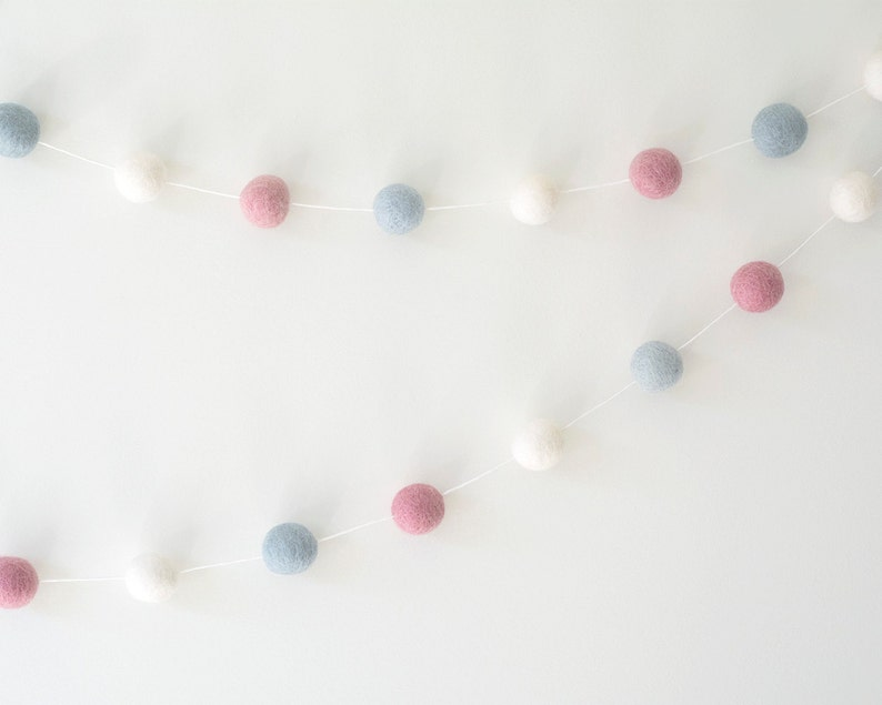Baby Blue White & Pink Felt Ball Garland Modern Girl Nursery image 0