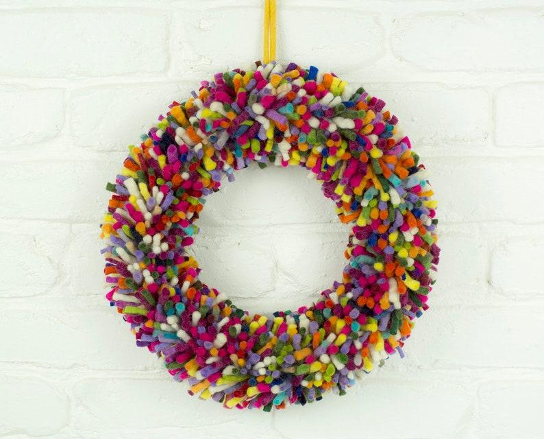 Felt Wreath Multicolour Christmas Decoration Holiday Decor image 0
