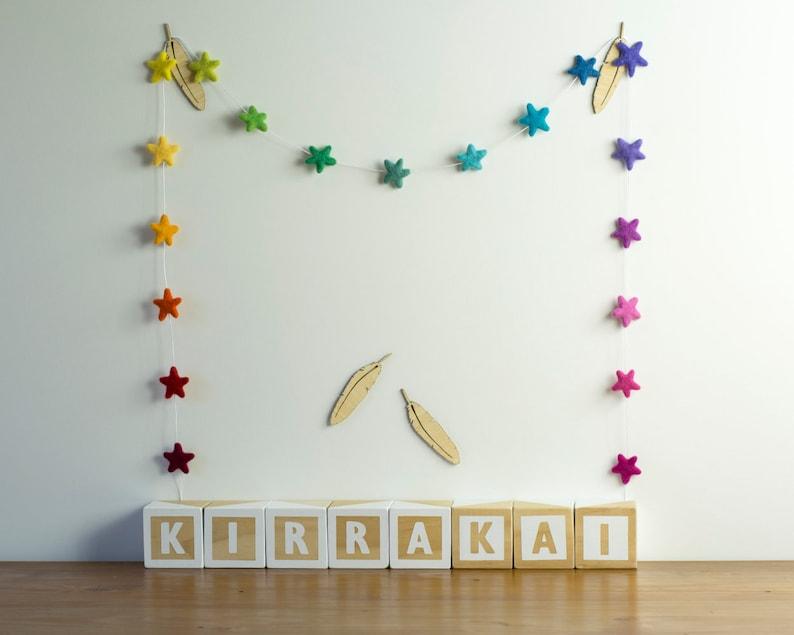 Rainbow Star Garland Scandi Kids Room Decor Star Photo Prop image 0