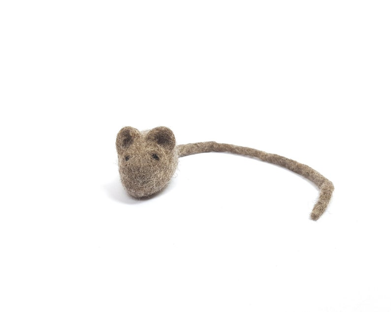 Brown Mouse Cat Toys  Natural Wool Mouse  optional 3cm or Mouse only
