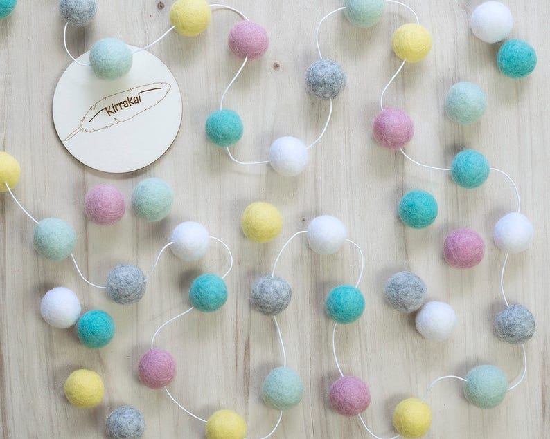 Spring Pastel Felt Ball Garland Girls Room Bunting Pink Mint image 0