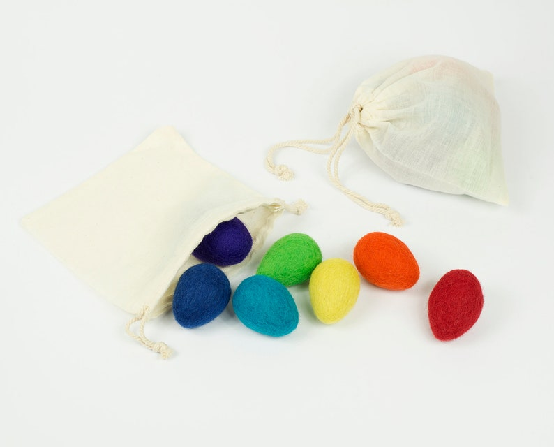 Rainbow Felt Eggs set of 7 Egg Cat Toy Rainbow Easter Decor image 0