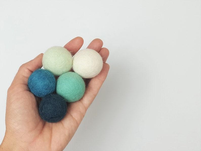 Natural Wool Cat Toys  Oceana Blues  5x 3cm Wool Felt Balls image 0