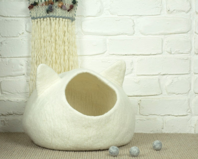 Felted Cat Cave Felt Cat Bed White Pet Bed Wool Cat Pod image 0
