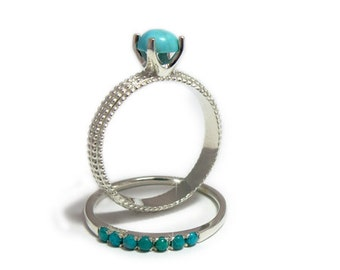 Turquoise wedding ring set, Turquoise wedding bands, Silver Turquoise ring set, December birthstone ring, Engagement and wedding rings set.