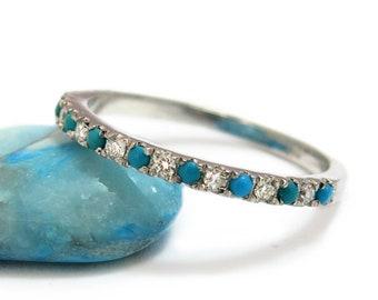 Sleep beauty turquoise ring, Classic Turquoise engagement ring, Turquoise diamond Ring, Eternity Turquoise ring, Stacking Turquoise ring.