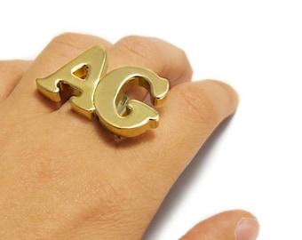 Name Ring, Custom Initial Ring, 2 letter ring, Monogram initial Ring, Initial Gold Ring, Statement Name Ring, Text ring, Oversized ring.
