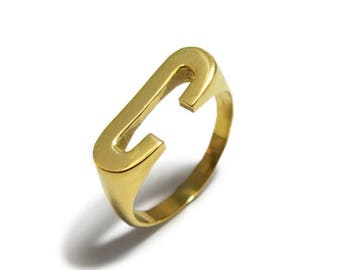 Personalized Gold Initial Ring, Yellow Gold Signet Ring, Gold Letter C Ring, Alphabet ring, Custom Initial Ring, Anniversary Gift, Name Ring