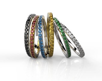 Birthstone eternity ring, Stackable birthstone ring, Birthstone wedding band, Birthstone stacking Ring, Gold birthstone wedding ring.
