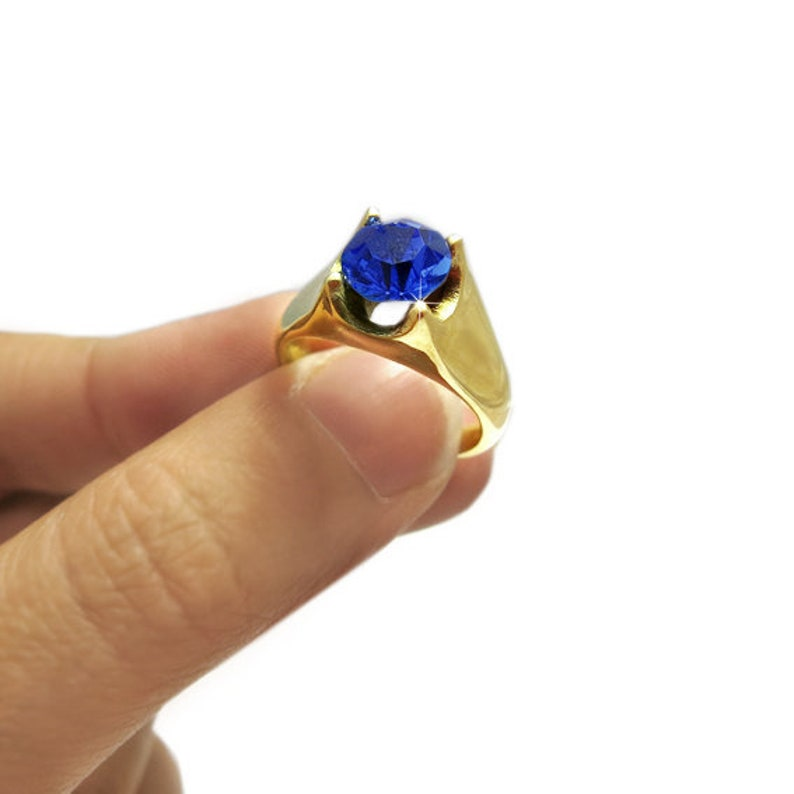 Blue Zircon Ring Blue Anniversary Ring Birthstone Solitaire Ring Gemstone Engagement Ring Birthstone Ring Gold Blue Engagement Ring