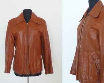 1970s Brown Leather Zip Up Jacket