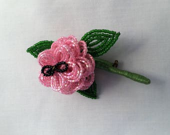 Pink flower pin etsy vintage pink beaded flower brooch pin mightylinksfo