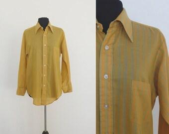 1970s Van Heusen Yellow Mens Long Sleeve Shirt | 15x32
