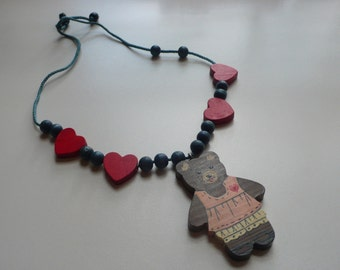 1980s Wooden Teddy Bear Necklace