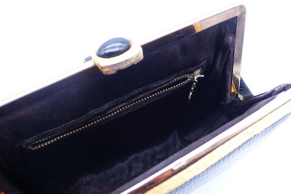 1950s Black Crocodile Embossed Clutch | purse - image 4