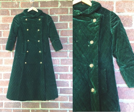 Vintage Emerald Green Quilted Childrens Coat | dou