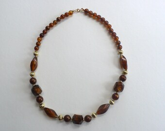 Vintage Amber And Gold Tone Lucite Beaded Necklace
