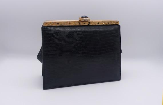 1950s Black Crocodile Embossed Clutch | purse - image 1