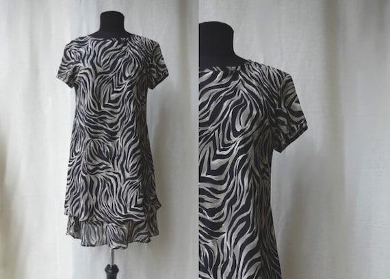 1990s Animal Print Tiered Chiffon Shift Dress