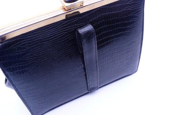 1950s Black Crocodile Embossed Clutch | purse - image 2