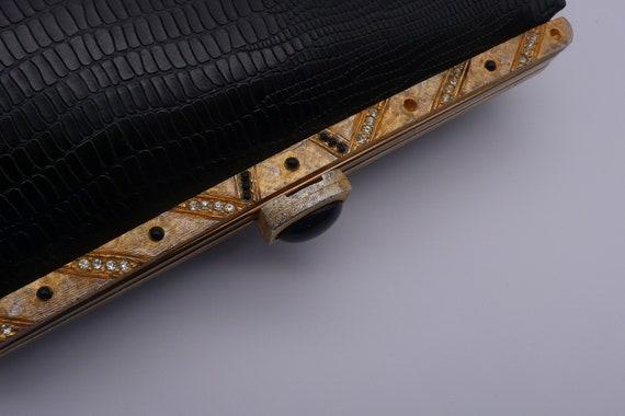 1950s Black Crocodile Embossed Clutch | purse - image 3