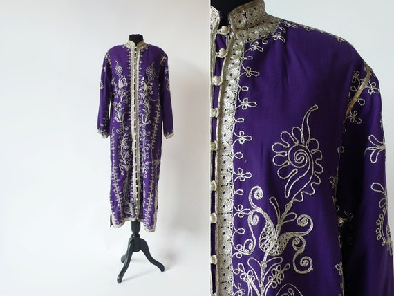 1970s Moroccan Purple Caftan With Soutache Trim