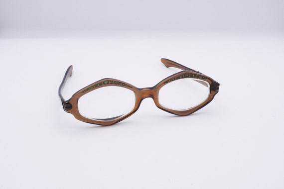1960s Women's Brown Hexagonal Eyeglasses | rhinest