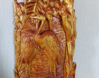 carved picture Heron picture bird