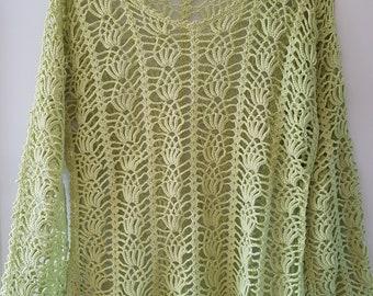 Bright green, hand-crochet summer blouse