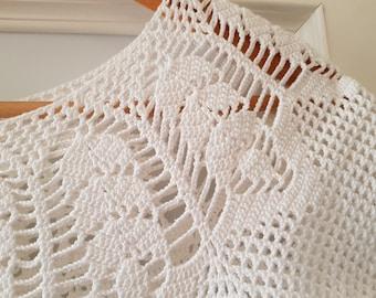 white, hand-crochet, summer blouse