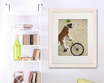 Saint Bernard dog - St Bernard on bike - St Bernard breed Painting of dog Cycling print Bike gift Bicycle print art Pet lover gift Dog mom