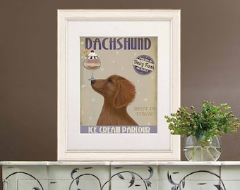 Gift for doxie lover - Dachshund gold ice cream dog - Dachshund decor Dachshund art Doxie lover Doxie decor Dachshund gift Doxie dog artwork