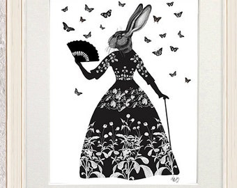 Silhouette art Black Rabbit - rabbit decor black bedroom wall art Whimsical Animal art forest art rabbit gift print black flower print teen