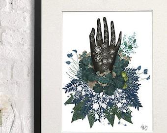 Black Hand Folk art print hand drawing Scandanavian style art black and white decor floral art print floral wall art bedroom art print