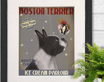 Boston terrier baby - Boston terrier Ice Cream - Boston dog print Boston dog decor Boston terrier gifts Boston terrier art Boston painting