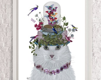 White Cat Wall art Butterfly bell Jar butterfly print cat home decor cute gift for friend Country house decor digital painting wall decor