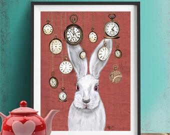 Rabbit Time - Art Print White Rabbit Alice in Wonderland Print Illustration Rabbit Print rabbit picture rabbit art, wall decor hanging