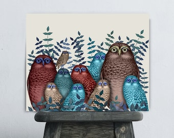 Owl wall art - Electric Owls Red and Blue  owl home decor country home decor Country house Wedding gift idea housewarming gift New home gift