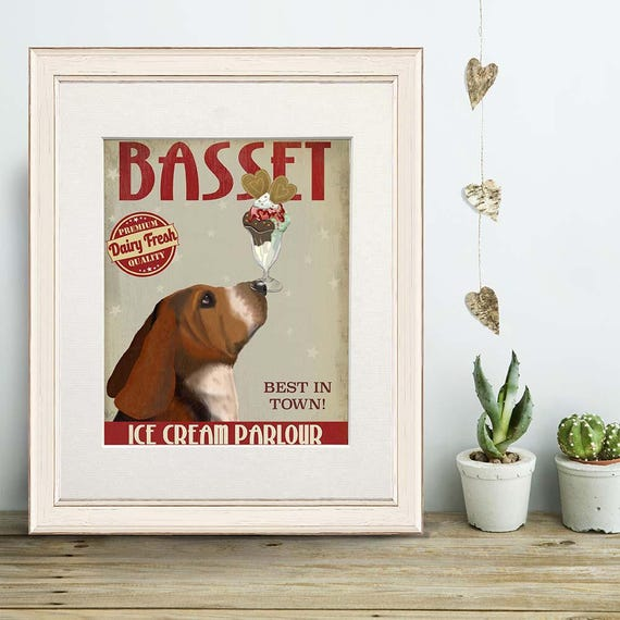Kitchen Decor Basset Hound Ice Cream Dog Kitchen Sign