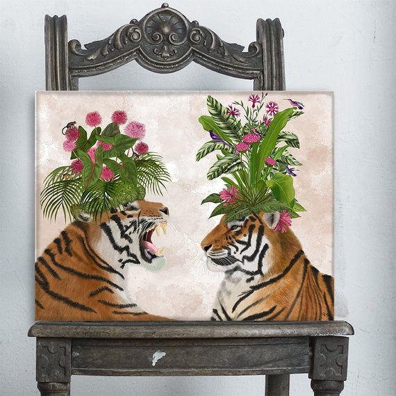 Girls bedroom decor - Tiger pair pink green hothouse - Modern wall art  Female bedroom art Gift for wife Canvas print Animal wall art Cat art