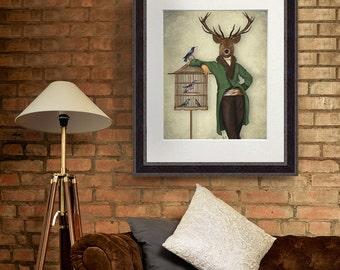 Deer and Bamboo cage - deer print stag print deer decor poster deer home wall decor gift for men Deer art print Wall art