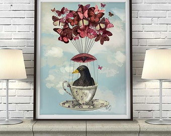 Bird nursery art - Blackbird in teacup - Butterfly art bird home decor wall decor butterfly room décor Butterfly wall art  nursery art