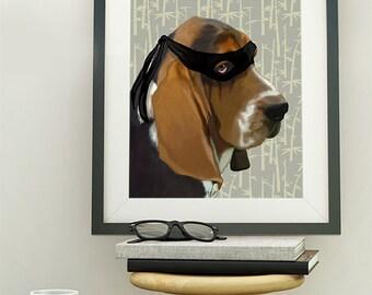 Ninja Basset Hound Dog Print  Art Prints Digital Illustration Drawing Poster Digital Print Wall Art Wall Décor Wall Hanging